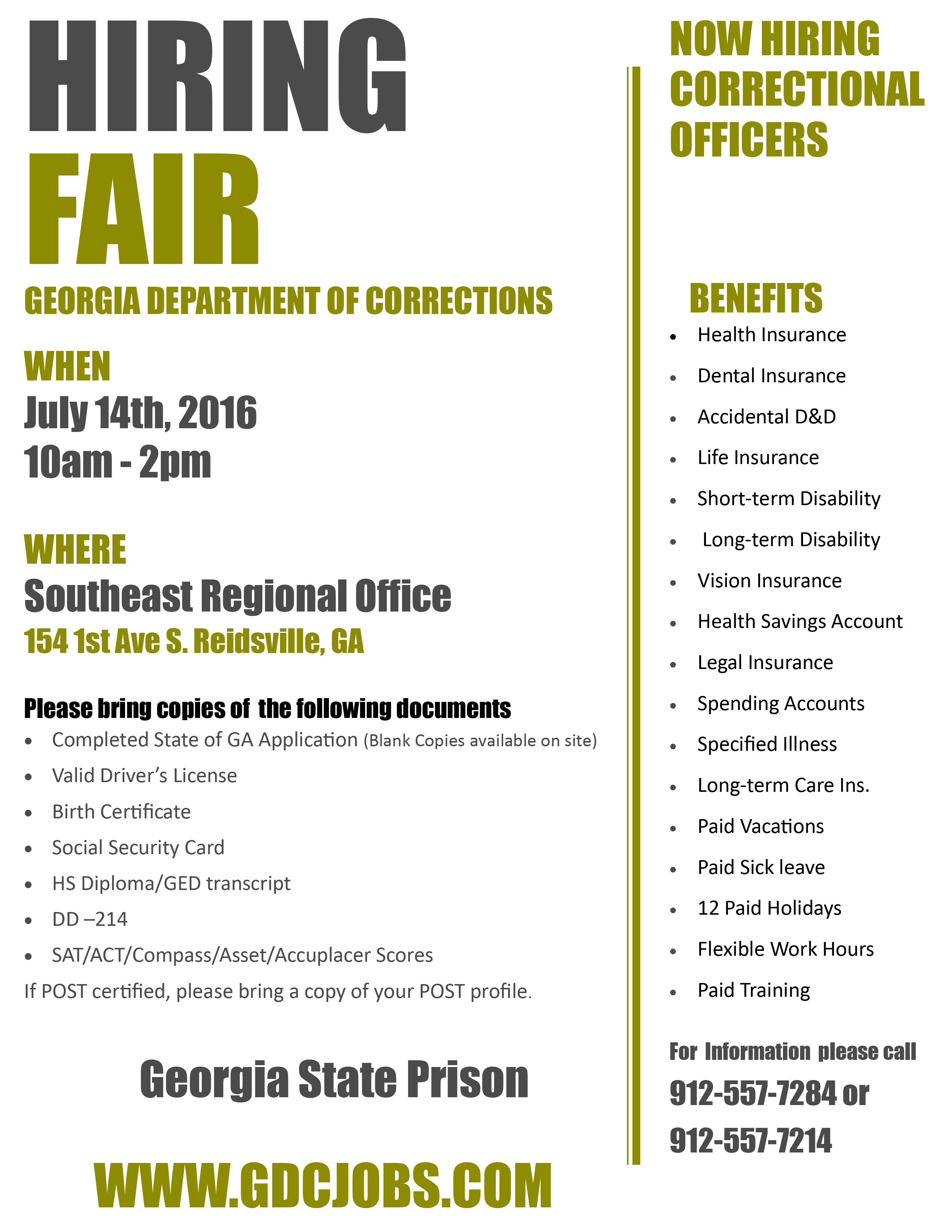 Ga Department Of Corrections Hiring Fair Team Georgia