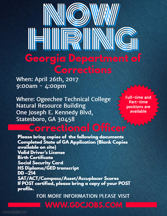 georgia department of corrections hiring event � april 26