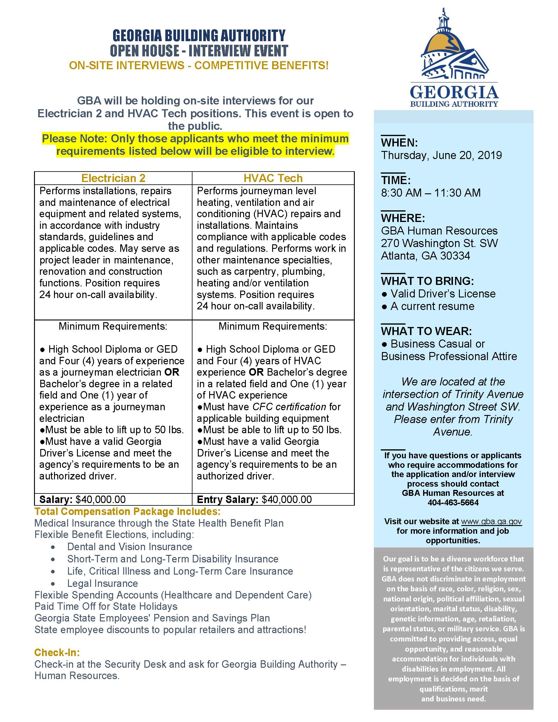 GEORGIA BUILDING AUTHORITY OPEN HOUSE – INTERVIEW EVENT